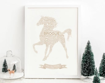 Personalised Horse Print, Horse Wall Art, Stables Gift, Cowgirl Gift, Equestrian, horse riding gift ideas, Horse Gift, Show Jumping, Cowboy
