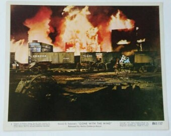"Vintage Authentic Gone With The Wind Rhett Butler & Scarlett O'Hara ""Burning of ATLANTA"" Collectible 1961 Color Lobby Still MGM Movie GWTW"
