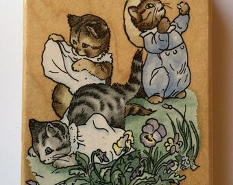 New Beatrix Potter Tom Kitten//Kittens at Play// Large Stampendous RP003 Rubber Stamp