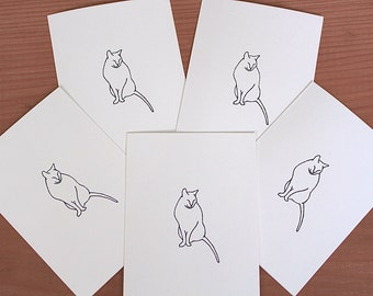 Set of 5 Handmade Gregory Note Cards