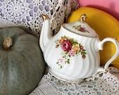 Sadler Vintage China Swirled Teapot - Pretty Rose Motif and Gilt Trim