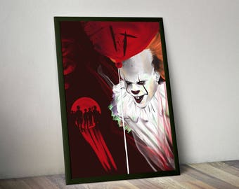 IT - Some fan art of the new Stephen King's movie, Pennywise, horror, slasher, halloween, movie, poster, derry, horror gift, clown, poster