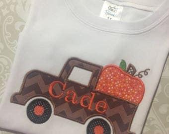 Pumpkin truck applique boys fall shirt, boy pumpkin monogram shirt, monogram fall apparel for boys, monogram fall truck applique tee shirt