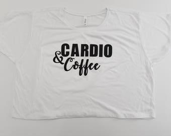 Cardio And Coffee Crop Top, Loose Fit Crop Top, Workout Shirt, Graphic Tee, Custom Shirt, Gym Crop Top, Fun Shirt, Cute Tee
