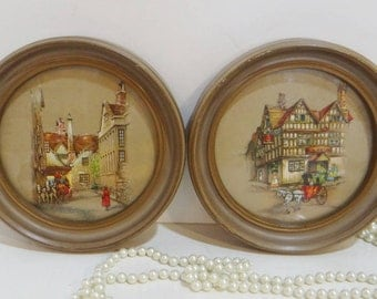 Pr. Antique Vintage Round Wooden Picture Frames with Glass 2 Victorian European Palace Layered Wood Gold Gilt