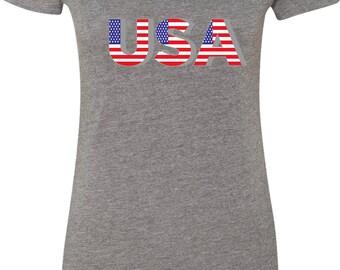 Ladies USA 3D Scoop Neck Shirt USA3D-6730