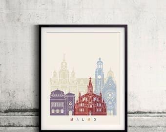 Malmo skyline poster - Fine Art Print Landmarks skyline Poster Gift Illustration Artistic Colorful Landmarks - SKU 2500