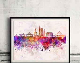 Taipei skyline in watercolor background Poster Digital Wall art Illustration Print Art Decorative  - SKU 2812