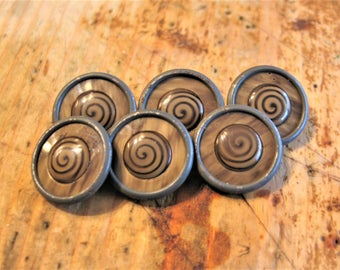 Vintage, Spiral Celluloid Buttons, Set of 6