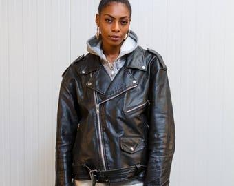 Leather motorcycle jacket / 80s leather jacket / Vintage biker jacket / Ladies black leather jacket / Men's leather biker jacket  / Size M