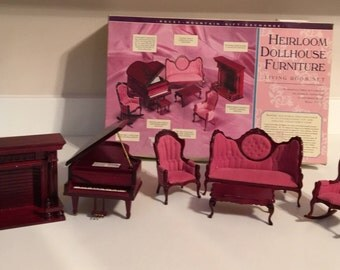 Vintage Mahogany & Rose Victorian Living Room Dollhouse Miniature 6 Piece Set Original Box Grand Piano Settee Fireplace Rocking Arm Chair