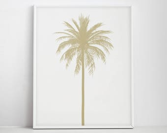 Bon Gold Palm Tree Print, Gold Tropical Print, Palm Trees Wall Art, Palm Tree