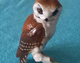 Rare Vintage HUTSCHENREUTHER  PORCELAIN FIGURINE-Owl-Gunther Granget-Circa 1960's