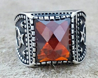 925 Sterling Silver Men Ring, Red Garnet Gemstone, Handmade