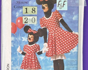 Women's Minnie Mouse Costume Sewing Pattern/ 1980's Simplicity 7730 Adult full costume from ears, dress to shoes, UnCut/ Plus Size 18 20