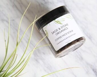 Organic Coffee Face Scrub | Vegan Face Scrub | All Natural Face Scrub | Calendula Scrub | Caffeine Scrub | Coffee Scrub | Fair Trade Coffee