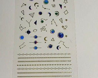 Nail Art Decals Stickers Gold Planets Galaxy Universe Chain Links Border Japanese Nail Deco Nail Art Accessories 1 sheet Constellation Stars