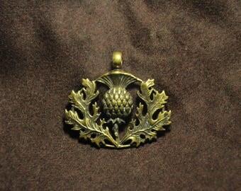 Thistle-Protection Pendant-Scottish Thistle-Celtic Flowers Necklace- Brass Jewelry- Evil Eye- Scottish Symbol Necklace- Free Shipping