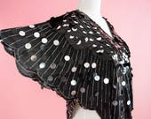 1970s, Disco, Vintage Blouse // Sequins, Silver and Black, 70s Costume, Women's Shirt, Size Small Medium, Large