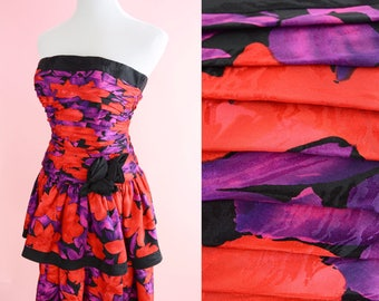 Vintage 80s Prom, AJ Bari // 1980s Floral Print Party Dress, Red, Purple, Black, Strapless Cocktail Party, Women Size Small