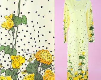 Vintage Alfred Shaheen Maxi Dress // 1970s, Hawaiian, Yellow Floral Dress, Boho Chic, 70s Hippie, Islandwear, Women Size Medium