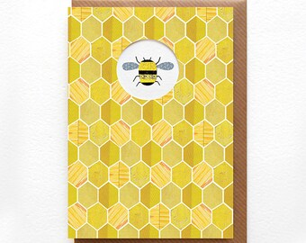 HONEY BEE - Greeting Card, Pattern, Bee, Bumble Bee, Honey, Yellow, Bug, Honeycomb, Notecard, Collage, Illustrated, Blank, Birthday, Die Cut