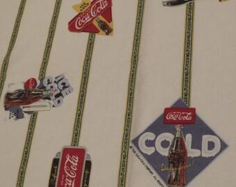 Vintage Coca-Cola Queen flat sheet