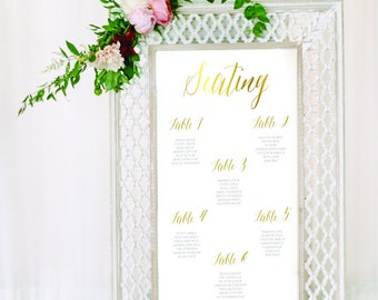 Personalised Printable Wedding Seating Chart, Wedding Table Plan, Gold Foil Effect - Caroline Collection - WCC51