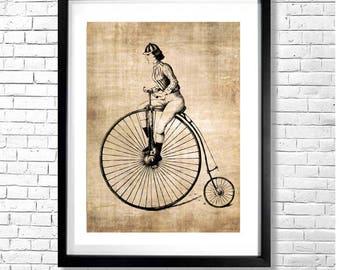 TOUR de FRANCE FEMININ - Woman Riding a High Wheel Bicycle Retro Antique Vintage Art Print Wall Decor Sepia Unframed 8.5x11'