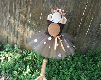 Deer costume - deer tutu -  girls dress up - doe tutu dress - Halloween costume for girls - girls costume - dresses for girls - deer dress