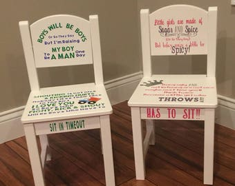 ON SALE NOW!! Personalized Boy & Girl Timeout Chairs