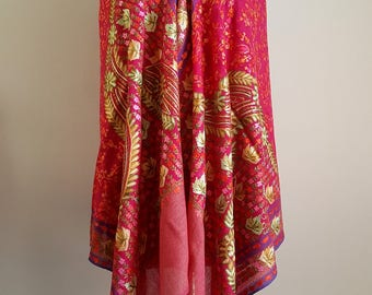 Fuschia Embroidered Handwoven Pashmina Shawl/Pashmina Scarf/Embroidered Scarf/Indian Tapestry/Gift for Her/Evening wrap/Piano Scarf