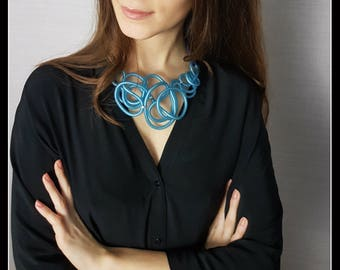 Rubber Necklace ' natural blue-rubber jewellery-contemporary necklace-modern jewellery-soft-lightweight