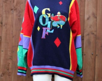 Multicoloured Golf Novelty Jumper