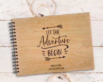 Personalised Let the Adventure Begin A4 Wooden / Timber Wedding / Engagement / Guestbook / Photo book.