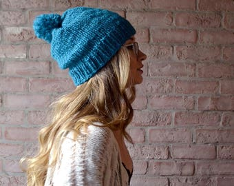 Pompom Knit Hat | MADE TO ORDER | Teal Wool Slouchy Beanie