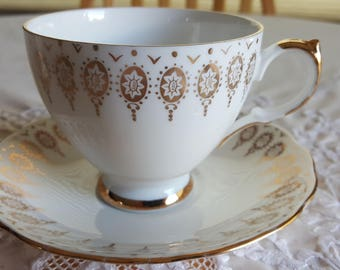 Queen Anne Gold and White gold filigree pattern teacup, rare and unique gift, golden anniversary gift, wedding gift, funky teacup