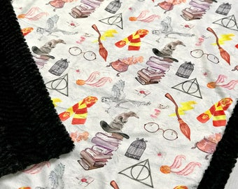 Wizard in Watercolor - Minky Blanket - Designer Minky - Black