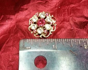 Vintage Pink and Clear Mid Century Medallion Crystal Brooch Pin