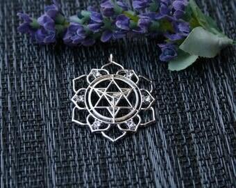 Merkaba Pendant - Gem Merkaba Necklace - Geometric Necklace