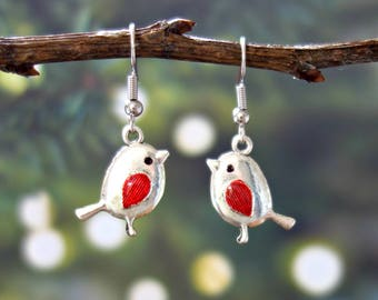 Robin Earrings -  Robin Jewelry - Bird Earrings - Bird Jewelry - Silver Bird Earrings - Dangle Earrings - Cute Earrings - Red Robin Earrings