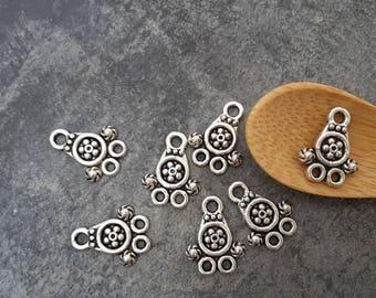 Mini ethnic connectors, Chandelier double row, ethnic boho, silver, 15 x 11 mm