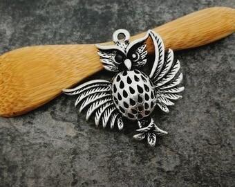 1 pc, owl, bird, 3D, silver, Metal OWL pendant pendant 37 x 36 mm pendant