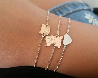 Customized bracelet in Silver 925 with pink gold necklace and kitten or puppy connector