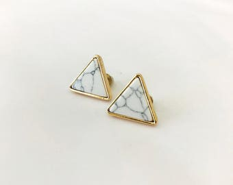 White Marble Earrings, Triangle Earrings, Marble Earrings, Marble Stud Earrings, Small Stud Earrings, Marble Earrings Stud,Everyday Earrings