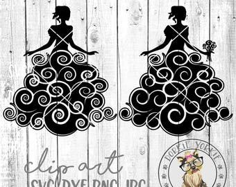 Bride Swirl  - svg, dxf, png, jpeg - swirly, clip art, wedding, dress, cricut, cameo, silhouette, printable Cut File