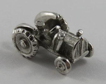 Tractor Sterling Silver Vintage Charm For Bracelet