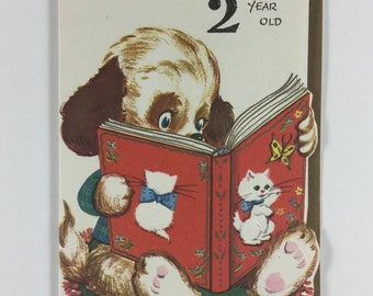 Puppy Dog Reading a Cat Book Vintage 1940s Unused Birthday Greeting Card