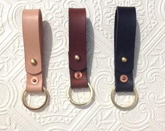 Handmade leather key ring. key fob, key loop