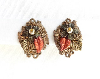 Harvest Leaves Copper, Gold & Brown Layered Vintage Clip Back Earrings - Estate Jewelry - Excellent Condition